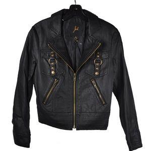 Black Bronze Motorcycle Faux Leather Jacket